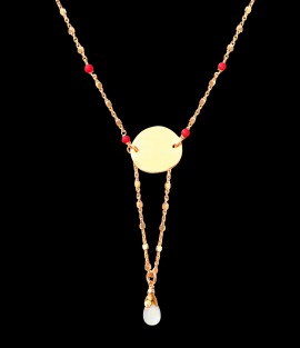 BIJOU Collier Corail rouge et Pierre de Lune