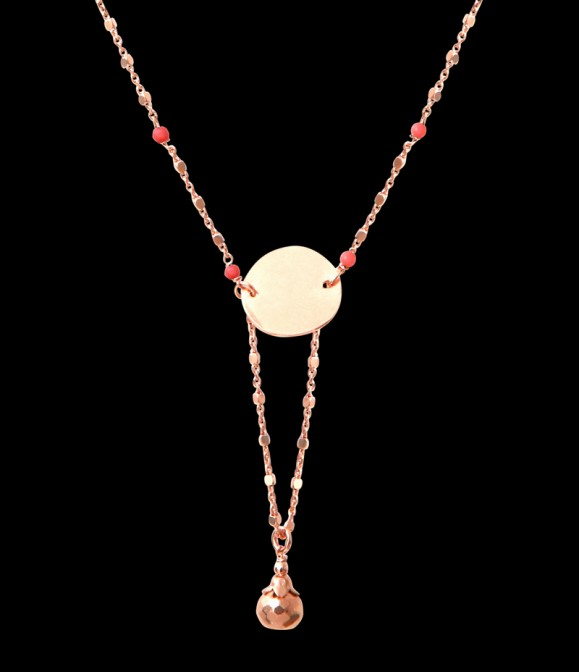Collier Bijou Corail rose et Pyrite